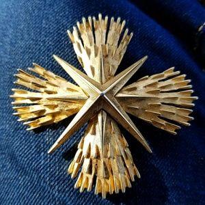 Vintage Crown Trifari gold cross brooch bold pin